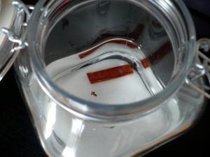 bocal de rhum avec ssucre et épices (vanille, cannelle, girofle)