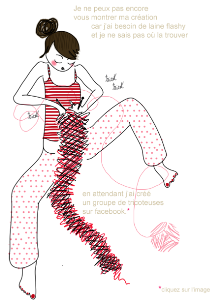 dessin représentant une jeune femme en pyjama tricotant une écharpe rose