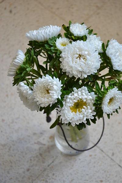 chrysanthèmes blanches vase bouteille de lait ancienne