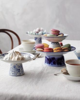 macarons presentoir bleu de chine porcelaine