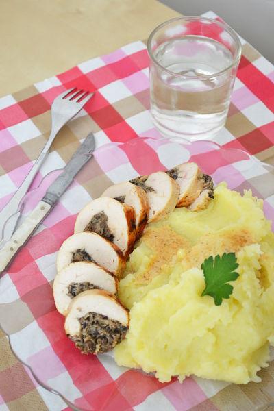 recette facile rapide ballotine de poulet duxelle champignon de paris