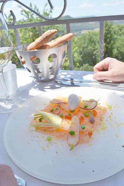 table-de-ventabren-avis-critique-terrasse-carpaccio-saumon-fenouil-sorbet-anis-printemps-2014