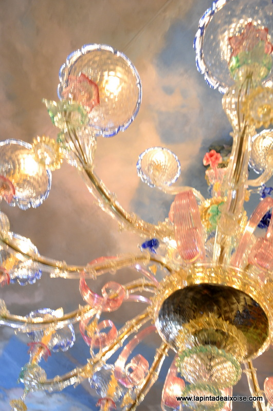 lustre verre murano plafond trompe loeil oeil ciel azur michel ange raphael